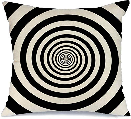 Pillow Cover Curve Hypnotic Twirl Swirl Circles Abstract Helix Optical in Illusion Vortex Textures Retro Round Soft Linen Decorative Square Throw Pillow Cover 16x16 Inch for Couch car Decoration