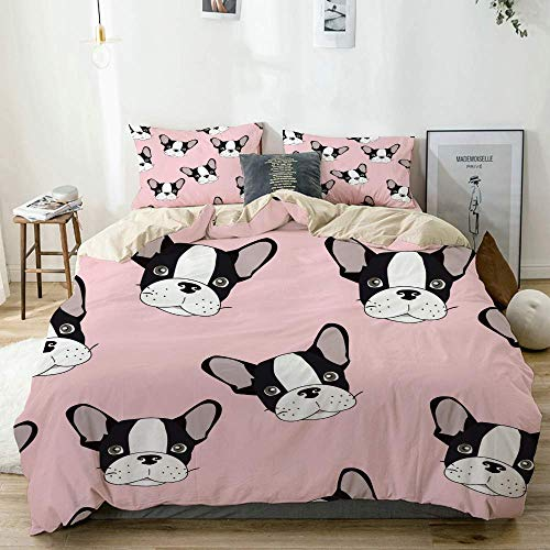 Totun Bettbezug Set Beige, Süße Cartoon Hundewelpen, Dekoratives 3-teiliges Bettwäscheset mit 2 Kissenbezügen Pflegeleicht Antiallergisch Weich Glatt