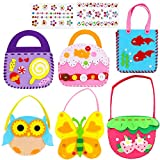 HOWAF 8 Pack Sewing Craft Kits with Stickers for Children Beginners DIY Felt Fabric Handbag Crafting Handmade Gift, 6 Pack Felt Sewing Party Bags, 2 Sheet Rhinestone Gem Jewel Stickers for Craft