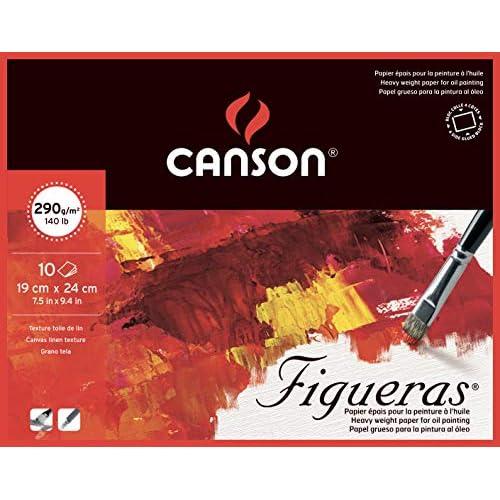 Canson Figueras - Blocco da disegno, 10 fogli, 290 g, grana in tela di lino, colore: Bianco naturale 24 x 19 cm 2F bianco