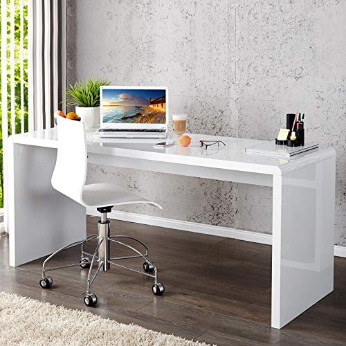 CAGÜ - Design Schreibtisch [SOHO] Weiss Hochglanz 140cm, NEU!