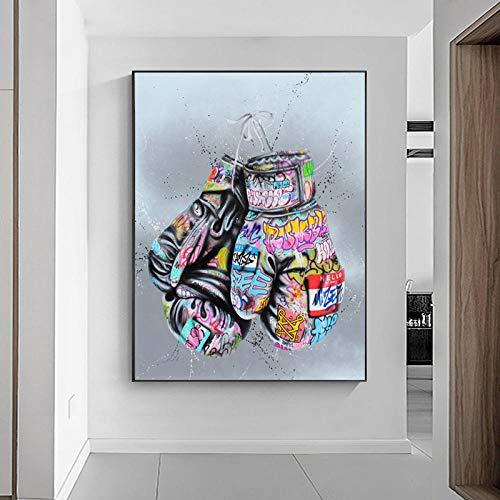 vbiubiuregre Boxhandschuhe Graffiti Kunst Poster und Drucke an der Wand Leinwand Malerei Street Art Wandbild für Wohnzimmer Wohnkultur-40X60cm_Framed