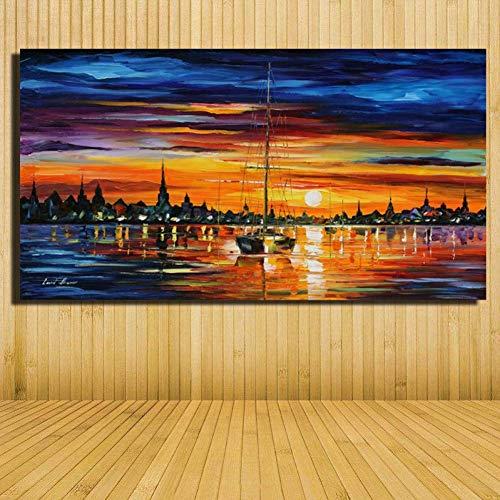 HOMEHX Quadro ad Olio su telaTavolozza Coltello Vista Mare Barca A Vela Pittura A Olio su Tela Immagini per Decorazioni Murali Dipinti Murali Senza Cornice di Grandi Dimensioni