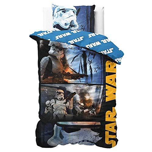 Star Wars Parure da Letto 1 Piazza, Copripiumino, Microfibra, Multicolore, 200x140 cm, 3 unità