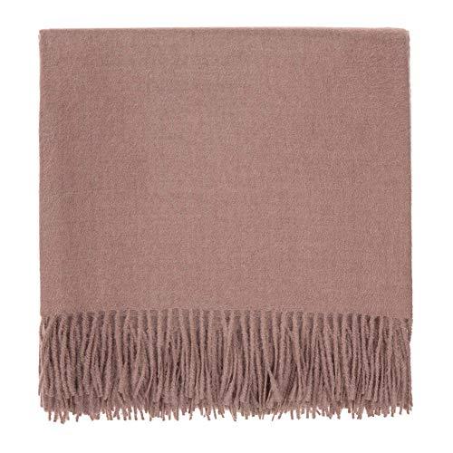 URBANARA Manta Arica 100% lana de alpaca bebé peruano – rosa polvoriento, 130 x 185 cm, manta de lana con flecos, manta de sofá, cama o silla