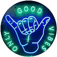 Good Vibes Only Hand Room Dual Color LED看板 ネオンプレート サイン 標識 緑色 + 青色 300 x 210mm st6s32-i3475-gb