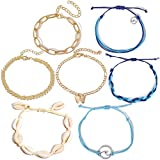 7Pcs Anklet Bracelet for Women Girls Figaro Gold Chain Beach Wave VSCO Anklet Set with Shell Turtle Turquoise Jewelry for Birthday/Party/Christmas Gifts