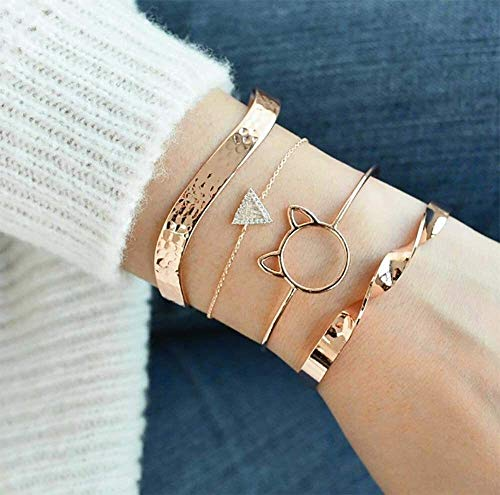 LQXZJ Gold Wave-Plissee-Armband glatt Geometrische Handkette Hohle runde Katzen-Kopf-Dreieck-Armband-Hand Zubehör, Set von 4