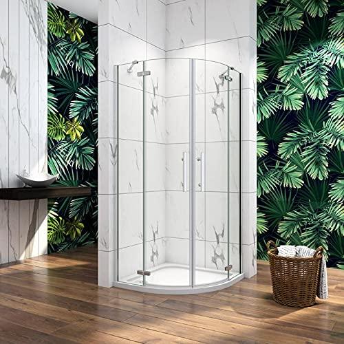 Cabina de ducha semicircular mamparas de baño 6mm cristal templado Curva Italiana 80x80cm