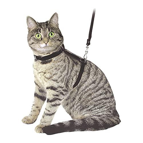 Arnés para gatos con correa 120cm, negro, de ante