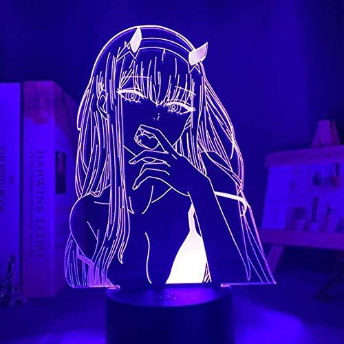 Luz De Noche De Ilusión 3D Darling In The Franxx 002 Lámpara De Mesa De Personajes De Anime Con Alimentación Usb Luces Led De 7 Colores Con Interruptor Táctil Para Niños Regalos Decoración De Dormi