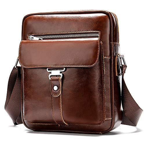 BAIGIO Bolso Bandolera Hombre de Cuero Bolso de Hombro Piel Pequeño Vintage Crossbody Bag Casual (Marrón-2)