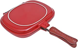 Double Side Grill Fry Pan, Cookware Aluminum Magic Foldable Flipping Sealed Egg Meat Breakfast Cooking Equipment (28cm)
