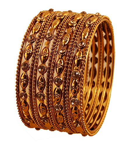 Touchstone Exklusive indische Bollywood-Prägung, fein gearbeitete Armreifen mit traditionellem Designerschmuck für Damen 2.37 Set von 12 Gold