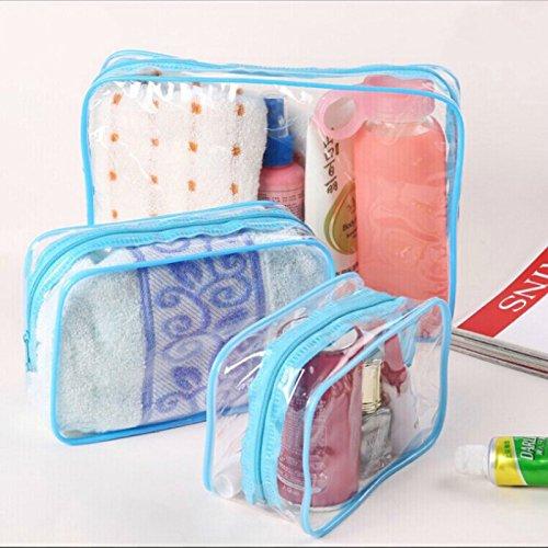 Gysad 3 Stück Verschiedene Größen Reisetasche Klarsichttasche Kulturbeutel mit Reißverschluss für Damen und Mädchen, blau (Blau) - 18285301067
