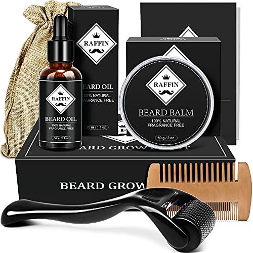 Beard Growth Kit Mens Gifts, Beard Kit with Beard Roller Beard Growth Oil Beard Wax Beard Comb for Beard Growth, Birthday Day Gifts for Mens Stocking Stuffers