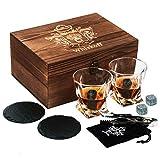 バーボングラス2セット-ギフトボックスに入ったウイスキーストーン-ツイストスコッチロックグラス&コールドストーン-男性に贈るギフトに最適なウイスキードリンクグラス