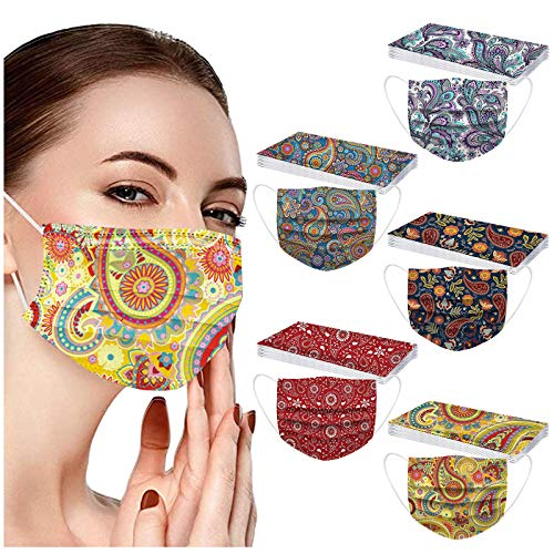 POTTOA 50pcs Paisley Floral Disposable Face_mask. with Designs for Women Girls Adults Colored Paper_Face_mask for Coronɑvịrus Protection Breathable 3 Layers with Nose Wire for Outdoor (Multicolor #4)