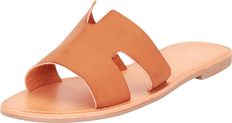 Cambridge Select Woherrar Open Open Open Toe Side Cutout Slip - on Flat Slide Sandal  kreativa produkter