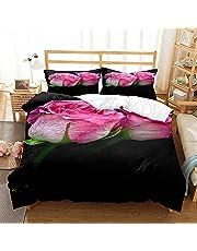 Sticker Superb. Trädgård blomma rosa ros bröllop gåva sängkläder set täcke med dragkedja stängning mikrofiber, romantisk söt kärlek blommigt påslakan enkel skötsel höst vinter