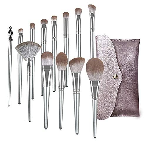 NEVSETPO Qualitäts-Make-up-Pinsel Premium Professionelle Make-up-Pinsel-Sets für Kabuki Foundation Powder Contour Blush Blending-Tragetasche enthalten (14-teilig, silber)