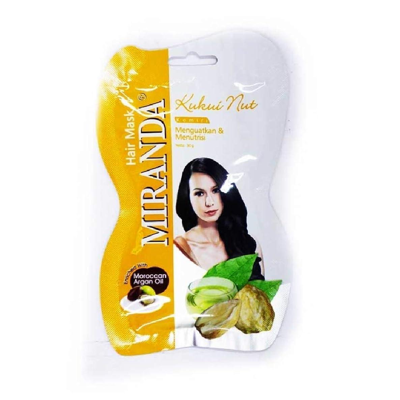 ぶどう真似る威信ミランダ ニュートリ ヘア オイル アルガンオイル&ククイナッツ イエロー ククイナッツ髪質改善、髪を強くする効果 パンテノール、ビタミンA&E 配合 MIRANDA HAIR MASK KUKUI NUT OIL SACHET