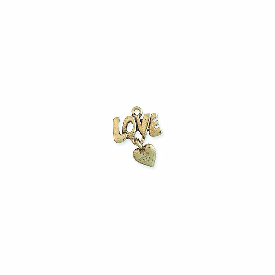Shipwreck Beads Pewter Love Charm with Heart Dangle, Metallic, Antique Gold, 17 by 23mm, 4-Piece