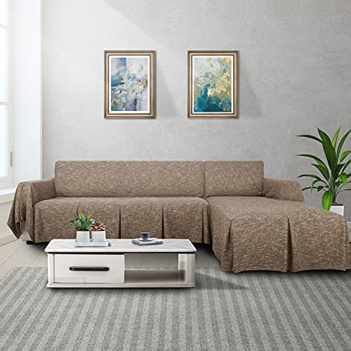 MAXIJIN Schnittsofabezug L-förmiger Sofabezug 2-teiliger Sofabezug aus 100% Polyester-Leinen mit Rüschenverdickter Hundeschutzhülle für das Wohnzimmer (3 SeatandLeftChaise, Coffee)
