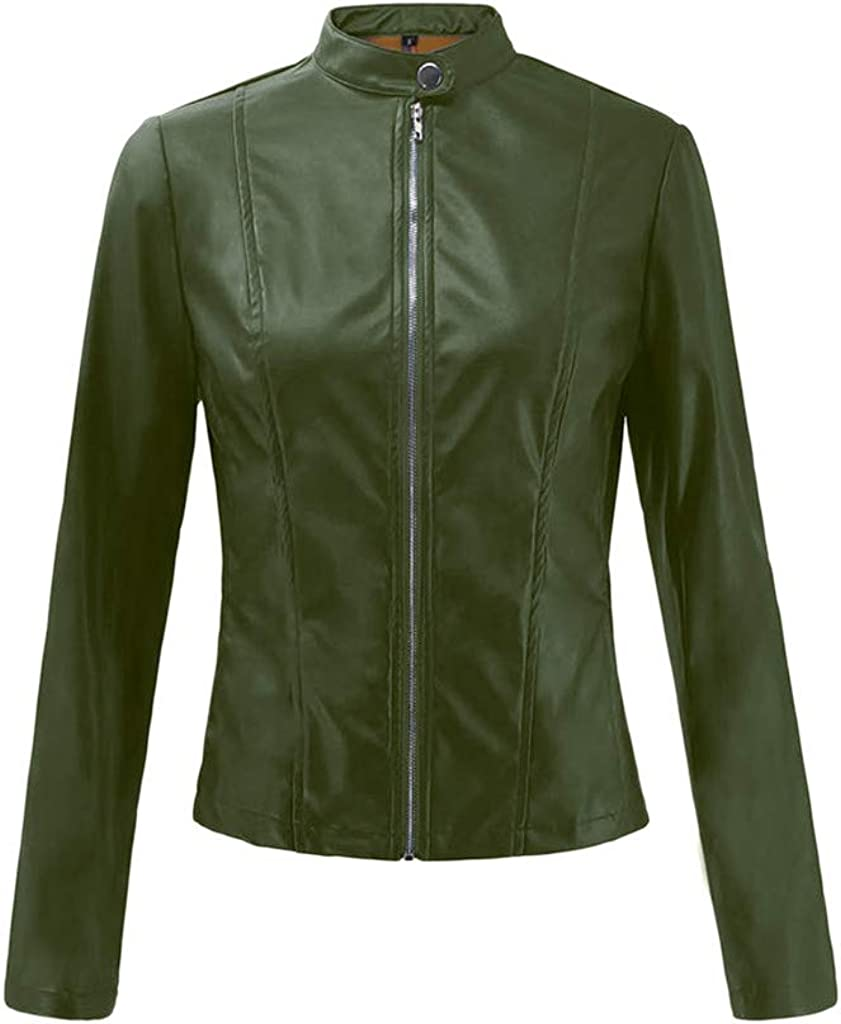 DEATU Fall Jackets for Women Short Thin Punk Motorcycle Coats Long Sleeve Zipper Faux Leather Jacket