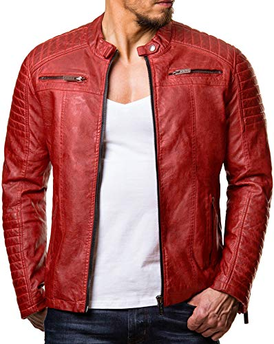 Redbridge Herren Jacke Übergangsjacke Biker Lederjacke Kunstleder mit gesteppten Bereichen (M, Rot)