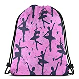 Yuanmeiju Cute Ballerinas Heart on Pink Gym Sack Bag Drawstring Backpack Sport Bag for Men & Women School Travel Backpack 14 x 17 Inch/36 x 43cm
