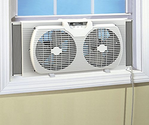 HowPlumb Dual Blade 9-Inch Twin Window Fan with Cover Portable, White