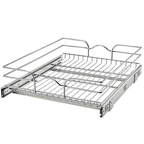 Rev-A-Shelf 5WB1-1822CR-1 18 Inch x 22 Inch Single Wire Basket Pull Out Shelf Storage Organizer for Kitchen Base Cabinets, Silver