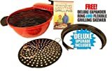 SEEN ON TV Minden Anytime Grill - RED For use w/ gas & electric stovetops WITH FREE DELUXE EPANDER RING AND FLEXIBLE GRILLING SKEVER