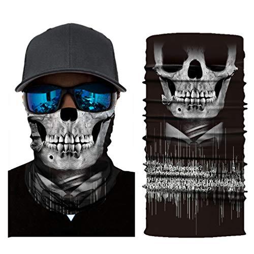 Amcool Multifunktionstuch Herren & Damen - Atmungsaktiv & Schnelltrocknend - Wind Face Shield - Motorrad Gesicht Mundschutz Lustig Skull Maske Chopper Mund-Tuch Halsschlauch Halstuch mit Motiv (B)