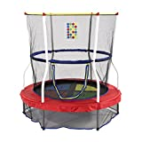 Skywalker Trampolines 1-2-3 Jump 55-inch Round Trampoline Mini Bouncer with Enclosure and Sound, Red, Weight Capacity up to 100 lbs, Durable Steel Frame, JMTC0550.2