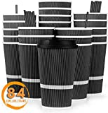 Disposable Coffee Cups with Lids 16 oz - To Go Coffee Cup (84 Pack) with Straws for Hot or Cold...