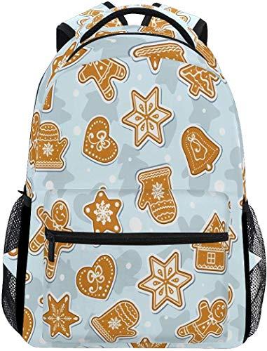 Weihnachtsplätzchen-Lebkuchen-Schulrucksack-wasserdichte Schulter-Büchertasche, Stern-Brown-Laptop-Beutel-beiläufiger Tagessatz-Spielraum-Sporttaschen im Freien
