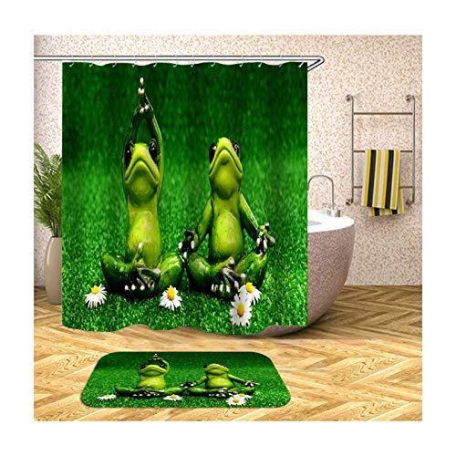 Bishilin 150x200 Polyester-Stoff 3D Duschvorhang Antischimmel Frösche Badematte WC Vorleger 40x60, Badezimmerteppich Set 2 Stück