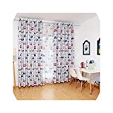Samine Dibujos animados coche impreso ventana barra cortina cortina habitación niños paneles de hilo con gancho