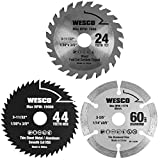 "WESCO Compact Circular Saw Blade Set, Pack of 3-Pieces 3-3/8"" and 3-2/5"" TCT/HSS/Diamond Saw Blades, 3/5' Arbor /WS9801U"