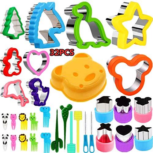 Nifogo Ausstechformen Sandwich Ausstecher - Cookie Cutters Set 32 PCS, Gemüse Obst Ausstecher Edelstahl, Micky, Maus, Dinosaurier, Stern, Obstgabeln für Kinder