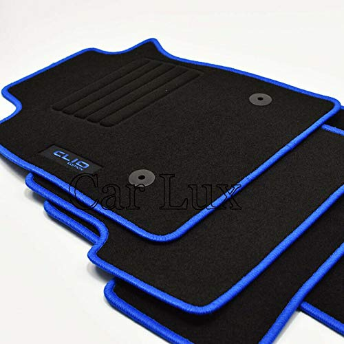 Car Lux AR00109 - ALFOMBRAS Alfombrillas Coche a Medida Edition Velour Azul para Clio IV 4 Desde 2012-