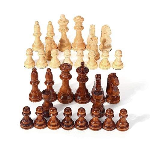 LINMAN 32 Stück Holz Internationale Schachfiguren Set ohne Schachbrettbrett Spiel Lustige Spiel Chessmen Sammlung Tragbare Brettspiel