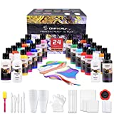 CRAZCALF Pintura Acrílica para Pouring Paint Kits 24 Botes de 60ml, Kit con...