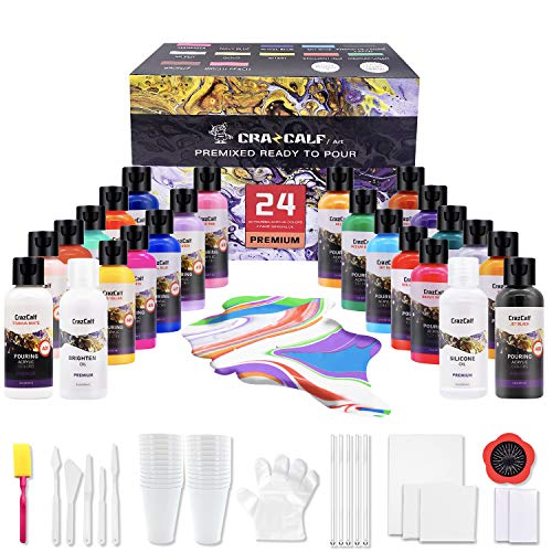 CRAZCALF Pouring Acrylfarbe, 24 Stück-Set 60 ml Flaschen mit vielen Farbtönen, flüssige Gießfarbe, Silikonöl, Brighten Oil, Leinw, Pinsel, Tassen, Handschuhen, Artist Starter Acrylic Pouring Paint Set