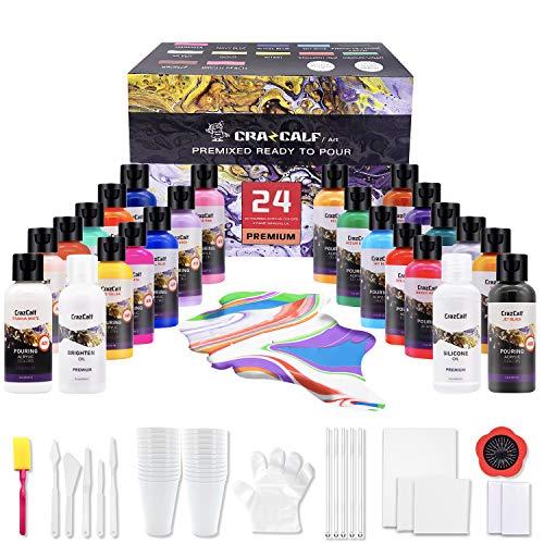 CRAZCALF Pintura Acrílica para Pouring Paint Kits 24 Botes de 60ml, Kit con Silicone Oil, Brighten Oil, Lienzo, Pincel, Tazas, Guantes, Pinturas acrílicas fluidas para verter sobre lienzo, papel