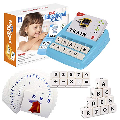 Flash Cards Letter Spelling Game for Toddlers 2-8 Years, Sight Words Alphabet Math Board Game Preschool Activities Learning Toys for 3 4 5-8 Year Old Boys Girls Christmas Xmas Birthday Gifts Blue
