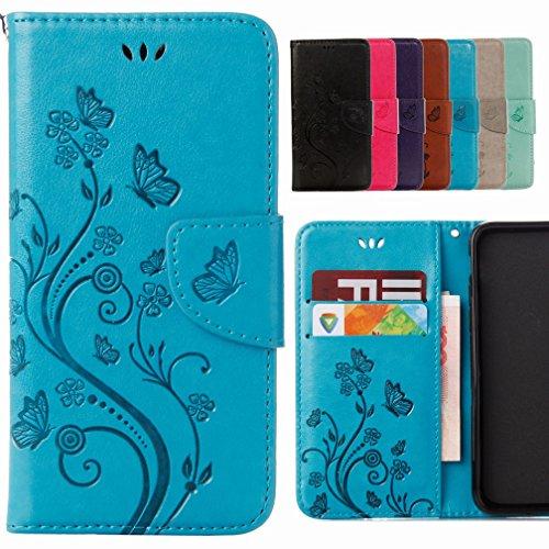 Yiizy Handyhülle für Wiko Rainbow Jam 4G Hülle, Blumen Erleichterung Entwurf PU Ledertasche Beutel Tasche Leder Haut Schale Skin Schutzhülle Cover Stehen Kartenhalter Stil Schutz (Blau)