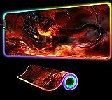 Fire Dragon World of Warcraft Alfombrilla de Ratón para Juegos Teclado RGB Alfombrilla Retroiluminada Accesorios para Pc Que Brillan Intensamente LED Big Gaming Gamer 600X300X4 mm